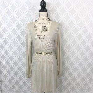 ECI Long Sleeve Long Necklace Mini Dress
